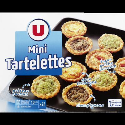 Assortiments de mini tartelettes apéritif U, 24 pièces, 300g