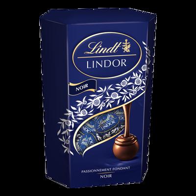 Boules Lindor au chocolat noir 45% LINDT, cornet de 200g