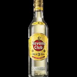 Rhum blanc de Cuba 3ans d'âge HAVANA CLUB, 40°, bouteille de 70cl