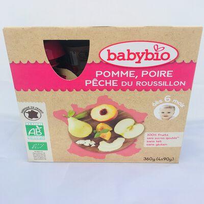 Gourde Pomme Poire Pêche BABYBIO dès 6 mois 4x90g