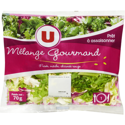 Salade Mélange Gourmand (frisée,mâche,chicorée rouge), U, sachet 70g