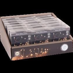 Guirlande d'intérieur fil d'argent lumineux 100 microleds blanc chaudde 5m-distance entre led 5cm-fil conducteur 10cm-fonctionne avec 3piles AA non incluses