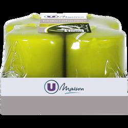 Bougies U MAISON, parfumées chèvrefeuille, 38x50mm, vertes, 4 unités