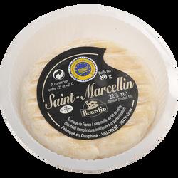 Fromage au lait thermisé Saint Marcellin IGP  BOURDIN, 22% de MG, coupelle plastique filmée de 80g