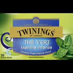 Thé vert menthe intense TWININGS, boîte de 20 sachets