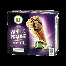 Cônes vanille praliné, U, boîte de 6x384g