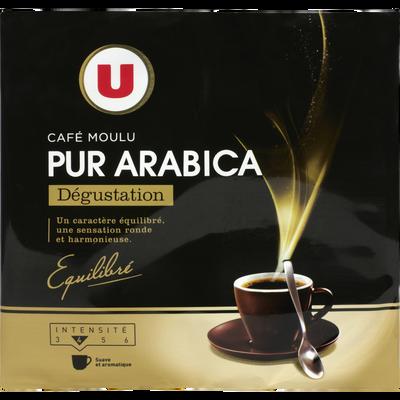 Café moulu torréfié 100% arabica dégustation U, 2 paquets de 250g