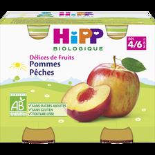 """Compote infantile bio pomme pêche """"Délices de Fruits"""", HIPP, dès 4 mois , 2x190g"""