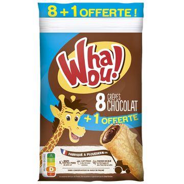 Whaou! Crêpe Whaou Fourrée Chocolat X 8 + 1 Offert, 288g