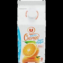 Pur jus d'orange sans pulpe U, brique de 1,5l