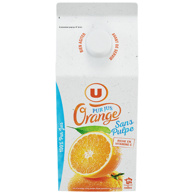 Pur jus d'orange sans pulpe U, brique de 1,5l