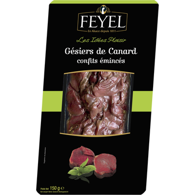 Gésiers de canard confits émincés  FEYEL, skin pack de 150g