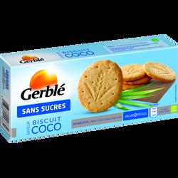 Biscuits saveur coco sans sucre ajouté GERBLE, paquet de 132g