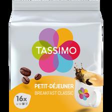 Café petit déjeuner classique TASSIMO, 16 dosettes soit 128g