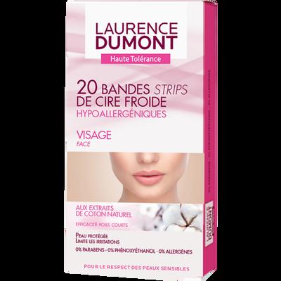 Cire froide pour le visage hypoallergénique LAURENCE DUMONT, 20 bandes