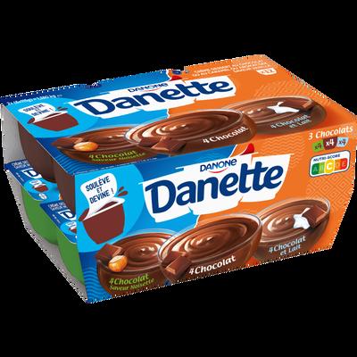 Crème dessert 3 saveurs chocolat au lait,  chocolat noisette, chocolatDANETTE, 12x115g