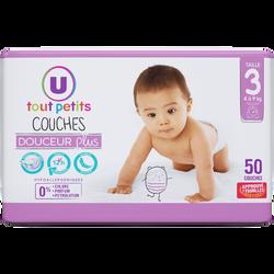 Couches douceur plus T3 4/9KG  U Tout Petits, paquet de 50