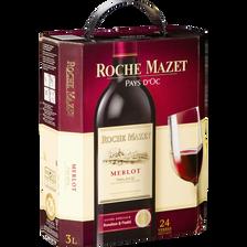 Vin rouge IGP de pays d'Oc Merlot ROCHE MAZET, fontaine à vin de 3l