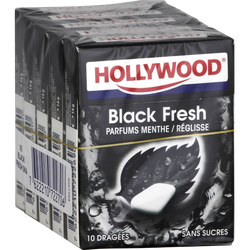 HOLLYWOOD black fresh, sans sucres, 5x10 dragées, 70g
