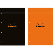 Bloc note RHODIA, perforé, grands carreaux, 21x31,8cm, 160 pages, coloris assortis