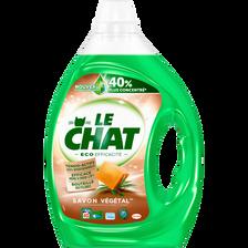 Lessive liquide éco efficacité savon végétal LE CHAT, bidon de 2l, 25lavages