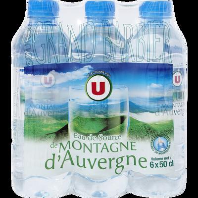 Eau de source des montagnes d'Auvergne U, 6 bouteilles en plastique de50cl