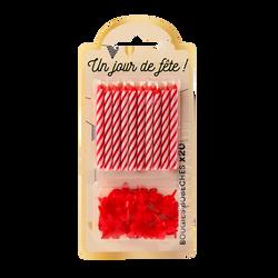 Bougie+bobèche, rouge, 20 unités