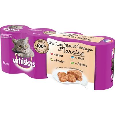 Aliment pour chat Les Terrines au thon, volaille, boeuf et lapin WHISKAS, 4x400g