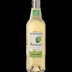 Vin blanc Pays d'Oc bio IGP Chardonnay AUTREMENT, bouteille de 75cl