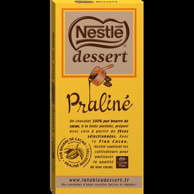 Chocolat au lait au praliné NESTLE DESSERT, tablette de 170g