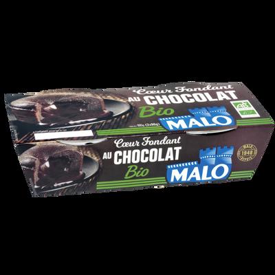 Gâteau au chocolat au coeur fondant bio MALO, 2x90g 180g