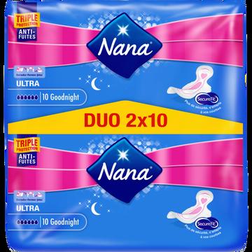 Nana Serviettes Ultra Goodnight Dryfast Nana, Jumbo Pack De 20