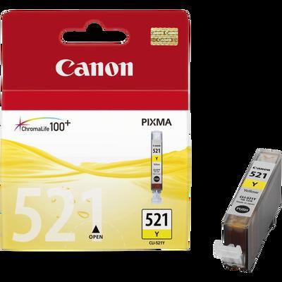 Cartouche d'encre CANON pour imprimante, CLI 521Y jaune, sous blister