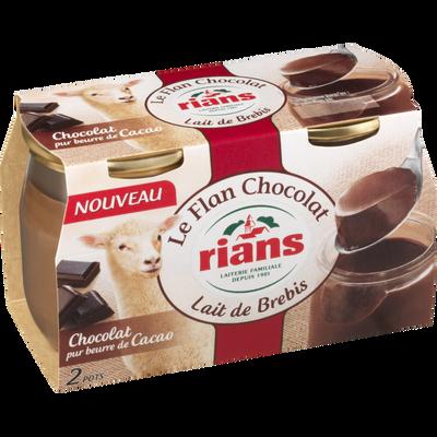 Le flan au lait de brebis au chocolat, RIANS, 2x115g
