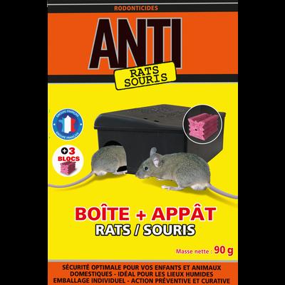 Blocs prévention ANTI, rats & souris, avec poste d'appâtage 90g