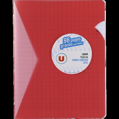 Petit cahier piqure U, grands carreaux, 17x22cm, 96 pages, rouge