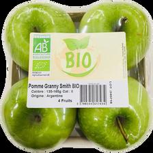 Pomme granny smith, BIO, calibre 135/165, catégorie 2, Argentine, barquette 4 fruits