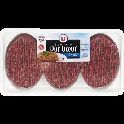 Steak haché pur boeuf, 5% MAT.GR., U, France, VBF, 100% muscle, 6 pièces, 600g