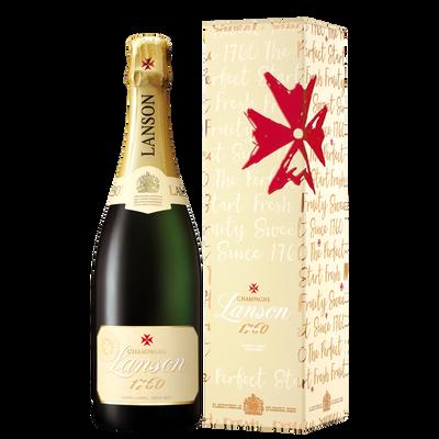 Champagne demi-sec  Ivory label LANSON, 75cl+sous étui message