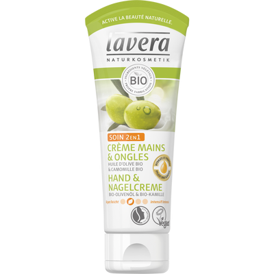 Crème mains et ongles à l'huile d'olive 2en1 bio LAVERA, tube de 75ml