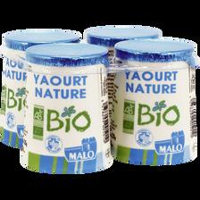 Yaourt nature bio MALO, 4x125g
