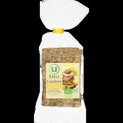 Crackers bio emmental et graines de courge U BIO, paquet de 200g