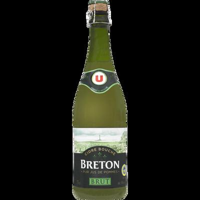 Cidre bouché brut de Bretagne IGP U, 5°, bouteille de 75cl