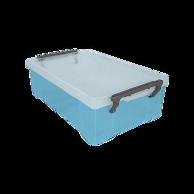 Boite de rangement, en polypropylène, 1,8l, bleu translucide, idéale pour ranger les accessoires de bureau