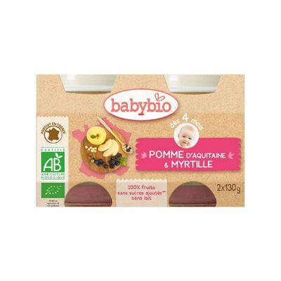 Pot Pomme Myrtille BABYBIO dès 4 mois 2X130g
