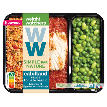 WeightWatchers Cabillaud Sauce Tomate Boulgour Légumes Verts Ww, 300g