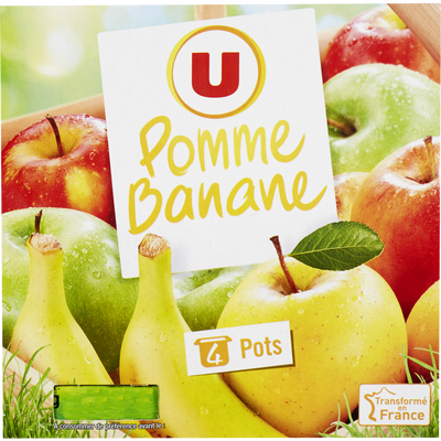Dessert de fruits pomme et banane U, 4x100g