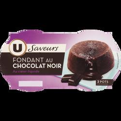Fondant au chocolat noir U SAVEURS, 2x90g