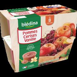 Coupelle de fruits pomme et cerise et vanille BLEDINA, dès 8mois, 4x100g