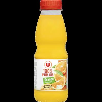Pur jus d'orange sans pulpe U, bouteille en plastique de 50cl